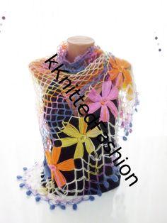 COLORFUL SHAWL shawl women hand crocheted shawl by kKnittedFashion, $48.00