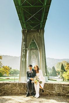 Max and Eleanor's intimate ceremony under the St. John's Bridge, Cathedral Park, Portland, OR. Photography by Kim Smith-Miller. #intimateweddings See this wedding on IW www.intimateweddings.com