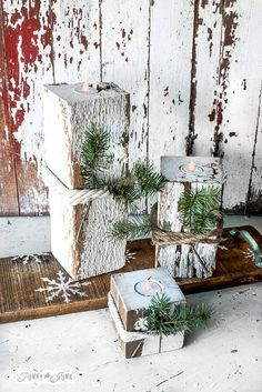 home decor christmas Make these easy and safe rustic wood Christmas candles with a snowflake shelf using faux tealights! With Funky Junks Old Sign Stencils and Fusion Mineral Paint Christmas Wood Crafts, Christmas Candles, Rustic Christmas, Christmas Projects, Christmas Decorations, Christmas Ornaments, Holiday Decor, Diy Christmas, Holiday Ideas