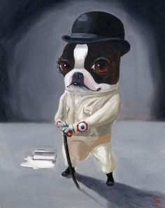 Clockwork Terrier - Boston Terrier dog art print by Brian Rubenacker