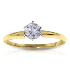#QP Jewellers - #QP Jewellers Round Brilliant Cut Diamond Solitaire Ring in 9ct Gold - AdoreWe.com