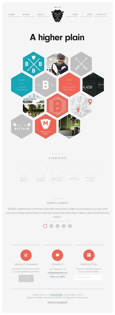 Simple yet powerful variation on the grid template.  The only genuinely unique feature is its hexagonal menu, strategically placed as the site's main visual attraction.