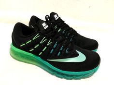 Nike Air Max 2016 Running Trainers Black Green Mens Sizes 7 to 11 NEW Running Trainers, Mens Trainers, New Outfits, Nike Air Max, Men's Shoes, Sneakers, Green, Black, Fashion
