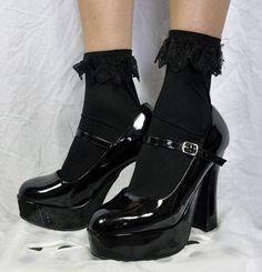 Black Gothic Lolita Ruffle Lace Socks