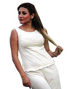 Natur weißes Träger Damen #Top #Shirt #Sommershirt 100% #ökologische strukturierte Pima #Baumwolle Biobaumwolle