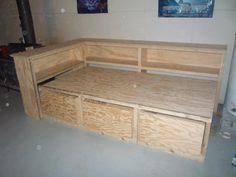 Nathan's Montreal Canadians bed Diy Storage Twin Bed, Diy Twin Bed Frame, Daybed With Storage, Bed Frame With Storage, Bedding Storage, Storage Beds, Dorm Bedding, Bedding Sets, Cheap Diy Headboard