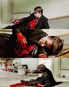 During [Reservoir Dogs], a paramedic was kept on the set to make sure that Mr. Orange's (Tim Roth) amount of blood loss was kept consistent and realistic to that of a real gunshot victim. 