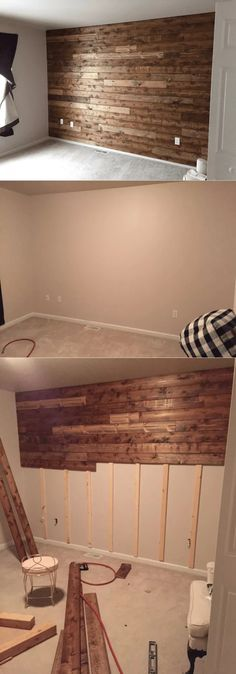 best wooden walls that will add warmth to your home for 2019 Wooden accent wall Wooden Accent Wall, Diy Wood Wall, Wooden Wall Decor, Accent Wall Bedroom, Wooden Walls, Pallet Wood Walls, Pallet Wall Bedroom, Master Bedroom Wood Wall, Wood Interior Walls