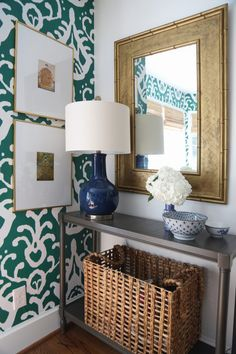 Our Green and White Kitchen Renovation, entryway, console table, emerald ikat wallpaper, basket, gold bamboo mirror, navy lamp