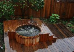 You Simply Can't Buy a Better Western Red Cedar Hot Tub! Ordering your Western Red Cedar Hot Tub is easier than ever before. Outdoor Tub, Hot Tub Backyard, Backyard Pool Landscaping, Hot Tub Vacuum, Whirlpool Deck, Round Hot Tub, Wood Tub, Diy Garden, Red Cedar