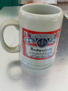 Check out this item in my Etsy shop https://www.etsy.com/listing/386732218/vintage-budweiser-mug-beer-stein-tankard
