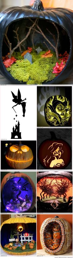 A great collection of Cool Pumpkin Carving Ideas - perfect to inspire your own carved creation - perhaps a hollowed pumpkin with a cemetery inside illuminated with an eerie glow? Holidays Halloween, Halloween Crafts, Holiday Crafts, Holiday Fun, Happy Halloween, Halloween Decorations, Halloween Party, Halloween 2015, Amazing Pumpkin Carving