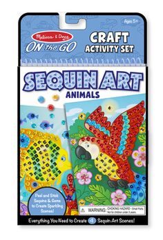 On-the-Go Crafts - Sequin Art - Animals: Press sequins and gems onto scenes to create sparkling art! This kit contains everything you need to create 4 adorable and shimmering sequin animal scenes. No glue is needed and everything is right inside -- step-by-step instructions, 4 scenes, 500 multicolored sequins, 8 gems and 9 shaped sequins.