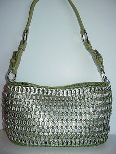Olive Green Tote (Pop Top Lady) Tags: bag aluminum recycled crochet can purse soda handbag tops tote pulltab tabs upcycled lacres trashion poptops Can Tab Crafts, Soda Can Crafts, Aluminum Can Crafts, Crochet Handbags, Crochet Purses, Pop Tab Purse, Pop Can Tabs, Crochet Rings, Soda Tabs