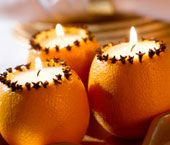 Citrus Clove Tealight Candles    SET THEM ALL AROUND ROOM  ON ALL TABLES,  FOOD, GIFTS, DINING