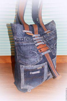 Купить Джинсовая сумка - 6 - голубой, абстрактный, джинсовый стиль, джинс, джинса