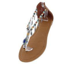 f676a40b9c4 Chloe108 Tan Multi Bead Strap Thong Sandal