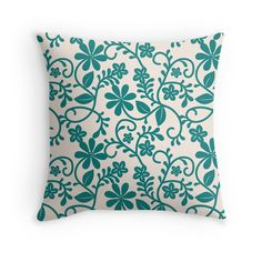 'Floral Teal Pattern' Throw Pillow by Teal Throw Pillows, Decorative Throw Pillows, Pattern Design, Original Art, Cushions, Room Decor, Park, Nice, Decoration