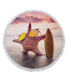 Pink Sunglasses Starfish Round Fringe Towel
