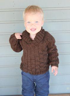 Suéter hecho punto del bebé de punto jersey de alpaca por DewKnit