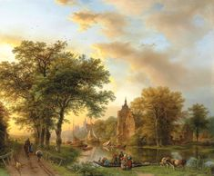 Barend Cornelis Koekkoek – private collection. TitleA River Landscape in Holland at Sunset. Date: 1852. Materials: oil on panel. Dimensions: 61 x 73.5 cm. Inscriptions: B.C. Koekkoek fec 1852 (lower left). Source: http://www.christies.com/lotfinderimages/d55762/d5576201a.jpg. I have changed the light and contrast of the original photo.