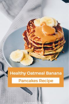 These oatmeal banana pancakes only require a couple of simple ingredients, and are a healthy way to start the day! Get the recipe here. Best Breakfast Recipes, Brunch Recipes, Breakfast Ideas, Morning Breakfast, Breakfast Club, Waffle Recipes, Beef Recipes, Banana Recipes, Healthy Recipes