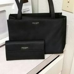 Authentic Kate spade purse and matching wallet Black fold over snap close bag.sateen fabric with full size matching wallet kate spade Bags Shoulder Bags