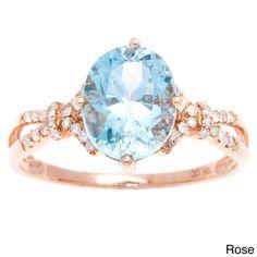 Viducci 10k Gold Blue Topaz and 1/5ct TDW Diamond Ring (G-H, I1-I2) (Rose Gold - size 5.5), Women's