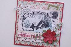 "Seasons Greetings, Christmas Card _ Stampendous Stamp ""Snowy Postcard""  ​Prima Paper ""North Country"" CheeryLynnDesign Poinsettia Stirp & Holly Corner"