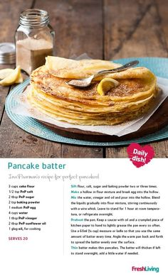 PANCAKE PARTY: Grab the cinnamon and sugar, slice a lemon and start flipping pan. PANCAKE PARTY: Grab the cinnamon and sugar, slice a lemon and start flipping pancakes in honour of Pancake Day. Ina Paarman's batter recipe is foolproof! Brunch Recipes, Sweet Recipes, Dessert Recipes, Quick Pancake Recipe, Pancake Recipes, Kos, African Dessert, Batter Recipe, South African Recipes
