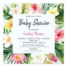Tropical Watercolor Leaves Square Baby Shower Invitation Luau Bridal Shower, Luau Baby Showers, Tropical Bridal Showers, Summer Bridal Showers, Bridal Shower Flowers, Bridal Shower Invitations, Brunch Invitations, Tropical Party, Shower Party