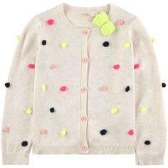 Viscose and cotton knit Pleasant to the touch Crew neck Long sleeves Tightened cuffs and waistband Buttons on the front Fancy bobbles Small logo patch on the heels Comes with a hair clip - 45,00 €
