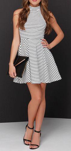 Halter Stripes Skater Dress