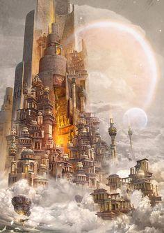 Fantasy City, Fantasy Castle, Fantasy Places, Fantasy Kunst, Fantasy World, Fantasy Art Landscapes, Fantasy Landscape, Landscape Art, Impressionist Landscape