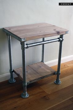 Free standing vintage industrial counter top vanity unit. The top is constructed from edge banded, spruce scaffold board which is mounted on heavy duty zinc galvanised steel tubes. The adjustable storage shelf and towel rail are secured with hex key...