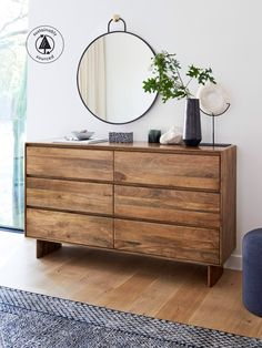 Nurture the natural. Rich wood grain is showcased in the clean, simple lines of our sustainably sourced, Fair Trade Certified™ solid wood Anton bedroom furniture. Using Anton floating wood shelves instead of nightstands keeps the look light and airy.