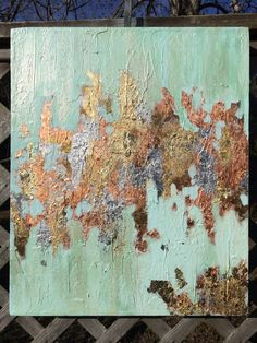 Textured Acrylic Canvas with Gold, Copper and Silver Leaf. Shades of light tourquiose, soft blues and golds by KBMDecor on Etsy