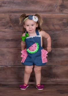 Girls Romper, Denim Watermelon Romper, Watermelon Outfit | Gidgets - Clothing on ArtFire