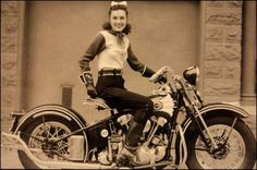 "This is Dot Smith, the famous female stunt rider from the 1930s and 40s, she was a member of the San Francisco Motorcycle Club and a founding member of the iconic ""Motor Maids"" with Dot Robinson and Linda Degeau. In this photograph she's sitting on her 1937 EL Knucklehead and looking damn near perfect with that little ribbon in her hair. They just don't make 'em like they used to"
