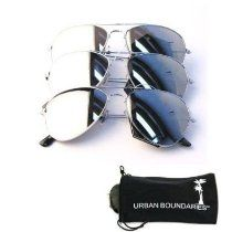 UB Mirror Lens Aviator 3-Pack w/ Drawstring Sunglass Pouches  From Urban Boundaries Eyewear