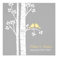 Love Birds in Birch Trees Personalized Invite