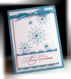 Stamps:  Snow Swirled, All Year Cheer. Paper:  Marina Mist, Whisper White. Ink: Marina Mist, Riding Hood Red. Accessories:  Grosgrain Marina Mist ribbon, bling. Tools:  Score-Pal, Big Shot, Tasteful Trim Bigz Die, Dimensionals.
