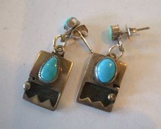 Vintage NAVAJO Sterling Silver Overlay & TURQUOISE Pierced Dangle EARRINGS.  TurquoiseKachina, $53.10
