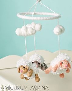 Free Sheep Baby Mobile Crochet Pattern by Amigurumi Aşkına at Ralvery Crochet Baby Mobiles, Crochet Mobile, Crochet Baby Hats, Crochet Gifts, Baby Blanket Crochet, Crochet For Kids, Crochet Toys, Baby Knitting, Free Knitting