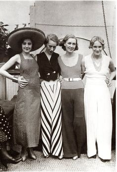 huge hats, chevron pants, striped shirts, and low necklines