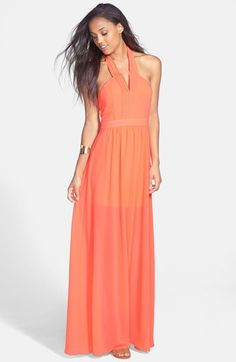 En Crème Pleat Halter Maxi Dress (Juniors) available at #Nordstrom