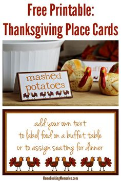 Free Printable: Thanksgiving Turkey Place Cards - add your own text to label food on a buffet table or to assign seating at dinner