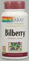 Bilberry Extract 60mg - 120 - Capsule by Solaray. $16.34. Description:         36% anthocyanosides              Size:          120ct 60mg           Directions:         As a dietary supplement,    take 1 or 2 capsules two times a day with meals or a glass of water.              Serving Size:          1 Capsule  120    Servings per container                                                    Ingredients:                      Amount per serving: