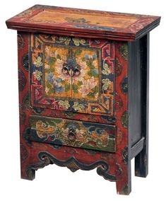 Mongolian Chest - What an amazing paint application this would be on a simple piece of found wooden furniture! - April 20 2019 at Asian Furniture, Chinese Furniture, Funky Furniture, Art Furniture, Unique Furniture, Repurposed Furniture, Wooden Furniture, Hand Painted Furniture, Painted Wood