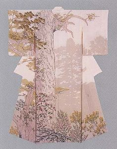 Formal Kimono with design in yuzen-zome by Tajima Hiroshi, Japanese National Living Treasure